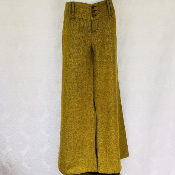 Free People Pants - FP vintage inspired yellow/gray metallic trousers